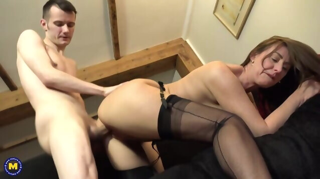 brunette amateur Passionate, amateur mature, Lara Latex asked her sons friend to fuck her dirty brains out